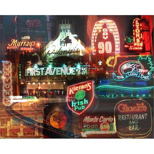 Night Minneapolis by Giesla: 14 x 11 Giclee Canvas