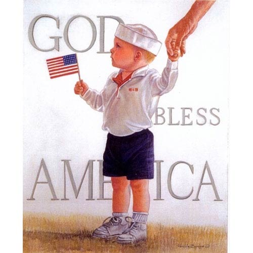 Hadley House God Bless America by Patricia Bourque: 12 x 16 Giclee Canvas