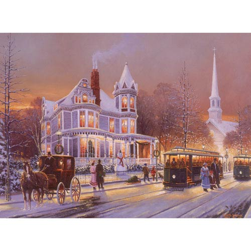 Hadley House Christmas In The City by Keith Brown, 16 x 20 In. Canvas Art