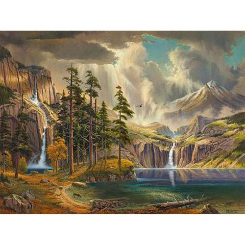 Hadley House Waterfalls Fall From The Mountains Into A Clear Blue Lake by Keith Brown, 24 x 30 In. Canvas Art