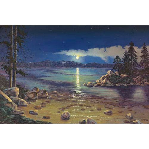 Hadley House Moonlight Serenity Moonlight Dances Off The Calm Lake Water by Keith Brown, 32 x 40 In. Canvas Art