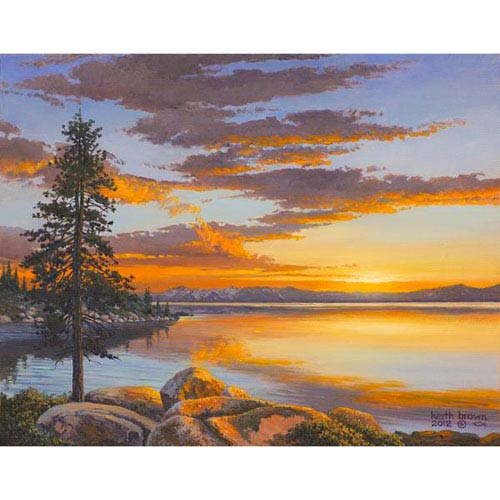 Hadley House Tahoe Sunsetaglorious Sunset Onatahoe Lake by Keith Brown, 32 x 40 In. Canvas Art