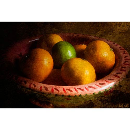 Hadley House Tangerines and Lime by Hal Halli, 24 x 32 In. Canvas Art