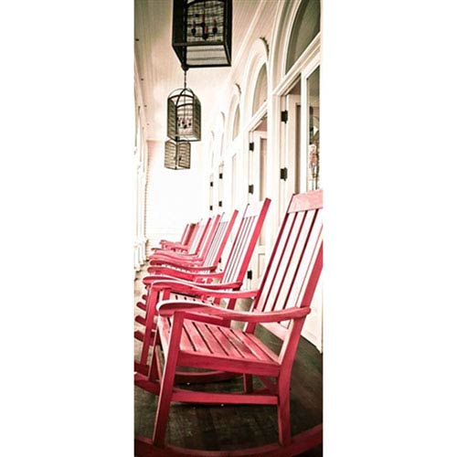 Hadley House Oahu Red Chairs by Kelly Wade, 24 x 8 In. Canvas Art