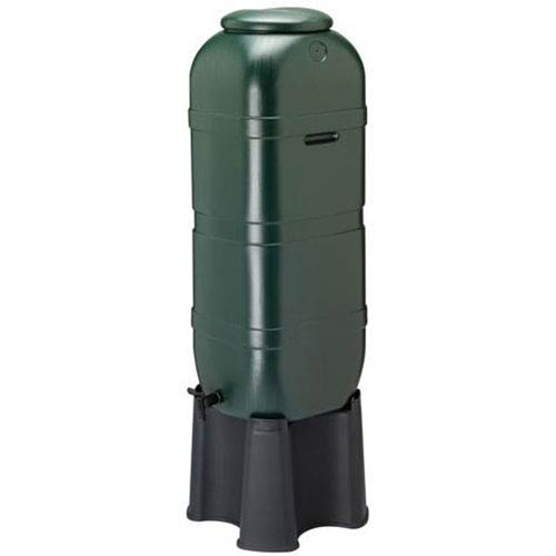 Slim Green Rain Barrel with Stand, 26-gallon