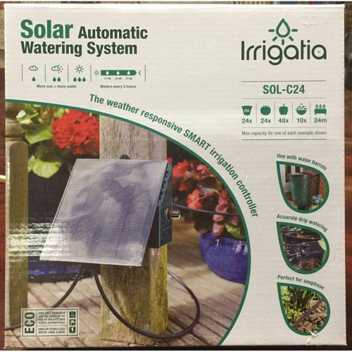 Irrigatia Large Solar Black Automatic Watering System for Rain Barrels