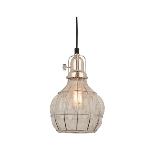 Baldwin Polished Nickel 7-Inch One-Light Pendant with Clear Crackle Glass