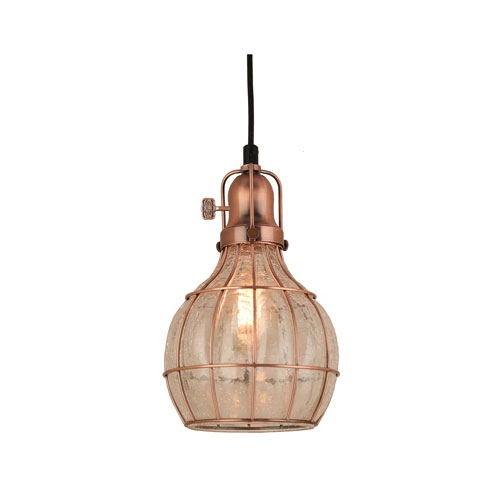 Baldwin Weathered Copper 7-Inch One-Light Pendant with Clear Crackle Glass