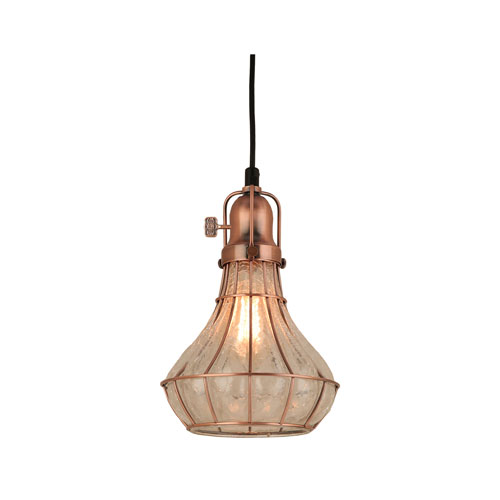Lani Weathered Copper 8-Inch One-Light Pendant with Clear Crackle Glass