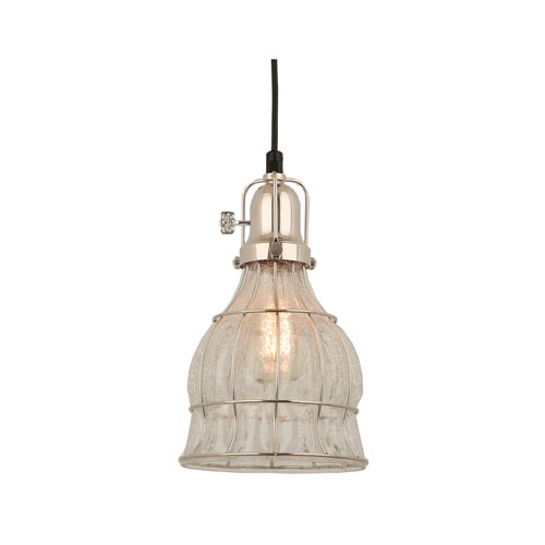 Aubrey Polished Nickel 7-Inch One-Light Pendant with Clear Crackle Glass