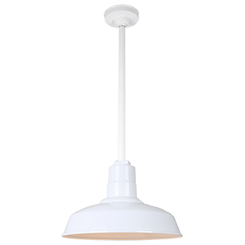 Warehouse White 14-Inch Pendant with 24-Inch Downrod
