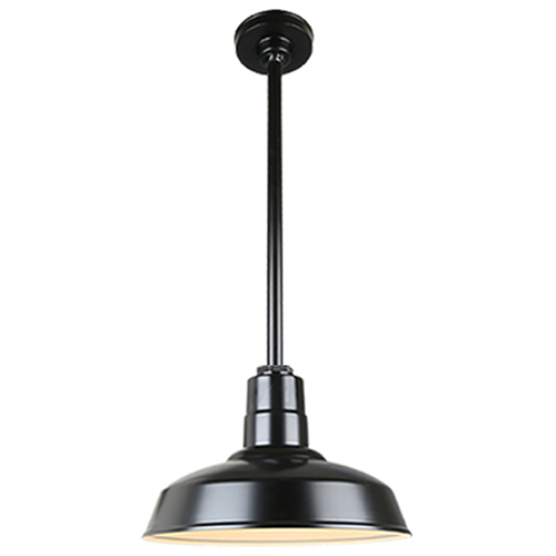 Warehouse Black 16-Inch Aluminum Pendant with 24-Inch Downrod