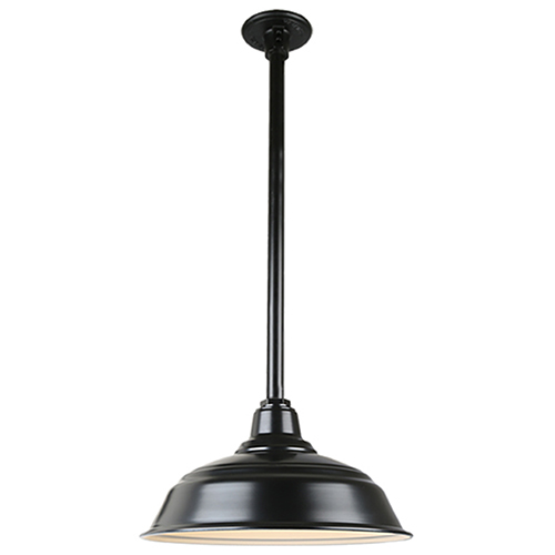 Warehouse Black 17-Inch Pendant with 12-Inch Downrod