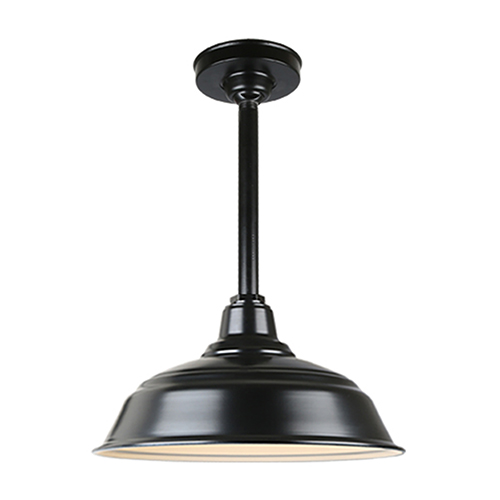 Warehouse Black 17-Inch Aluminum Pendant with 12-Inch Downrod