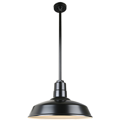 Warehouse Black 18-Inch Aluminum Pendant with 36-Inch Downrod