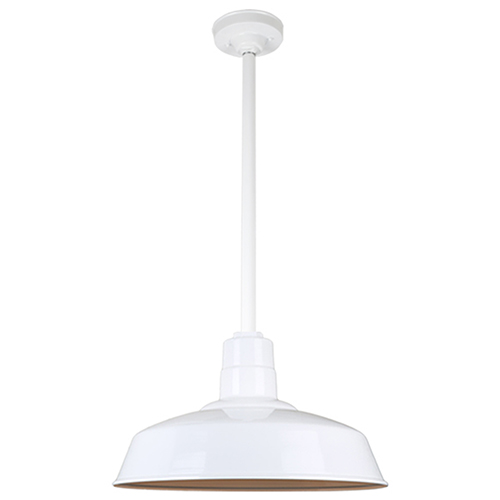 Warehouse White 18-Inch Aluminum Pendant with 24-Inch Downrod