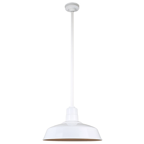 Warehouse White 18-Inch Aluminum Pendant with 36-Inch Downrod