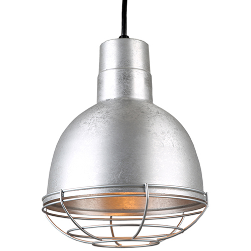 Deep Bowl Shade Galvanized 10-Inch Pendant with Wire Guard