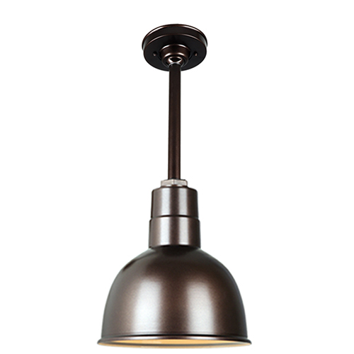 Warehouse Oil Rubbed Bronze 10-Inch Aluminum Pendant with 12-Inch Downrod