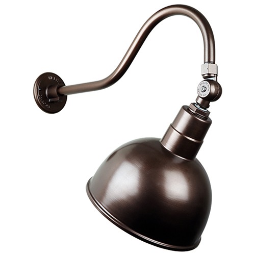 Deep Bowl Shade Oil Rubbed Bronze QSNHL-A Arm 10-Inch Outdoor Wall Mount with Swivel Knuckle