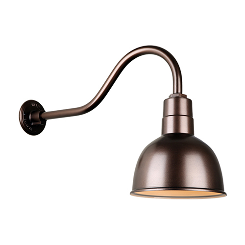 Deep Bowl Shade Oil Rubbed Bronze QSNHL-A Arm 10-Inch Outdoor Wall Mount