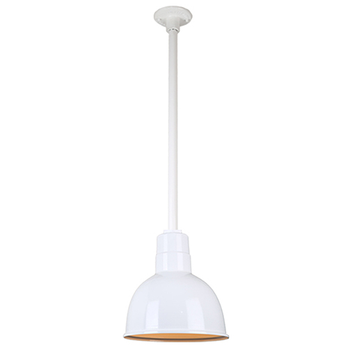 Warehouse White 10-Inch Pendant with 24-Inch Downrod