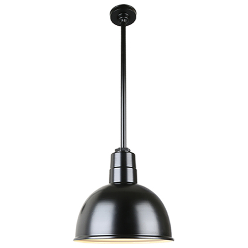 Warehouse Black 12-Inch Aluminum Pendant with 36-Inch Downrod