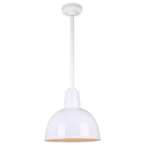 Warehouse White 12-Inch Aluminum Pendant with 24-Inch Downrod