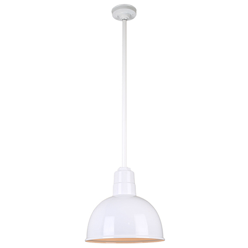 Warehouse White 12-Inch Aluminum Pendant with 36-Inch Downrod