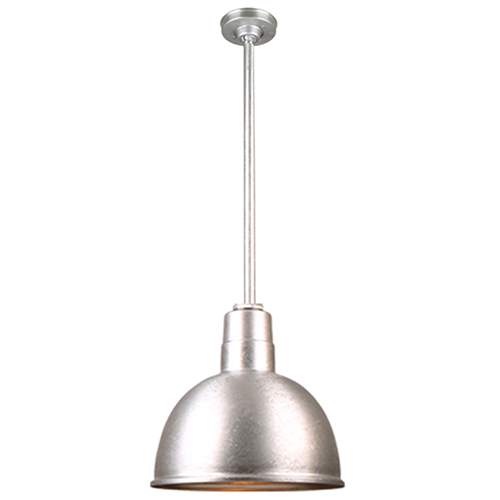Warehouse Galvanized 12-Inch Aluminum Pendant with 36-Inch Downrod