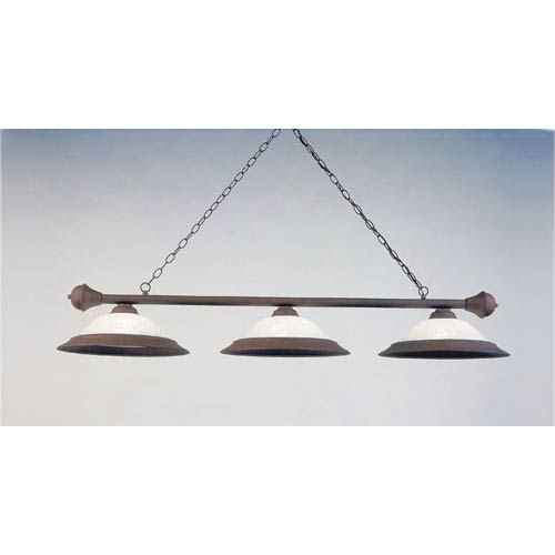 Rust 11-Inch Three-Light Billiard Light