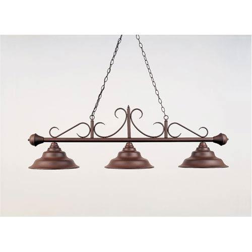 Rust and Brown 16-Inch Three-Light Billiard Light