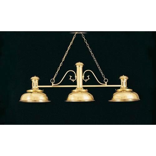 Polished Brass 24-Inch Three-Light Billiard Light