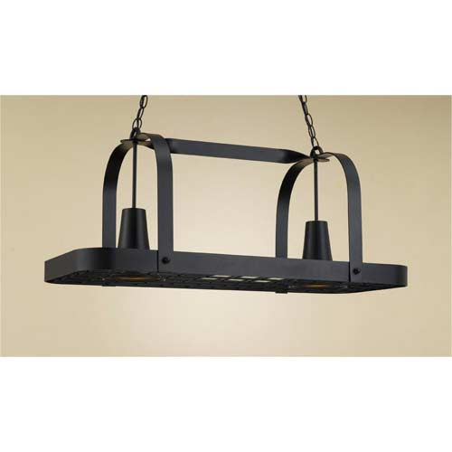 Hi Lite Baker Black Leather Lighted Pot Rack