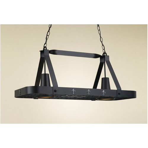 Hi-Lite FLeur De Liz Black Leather Lighted Pot Rack