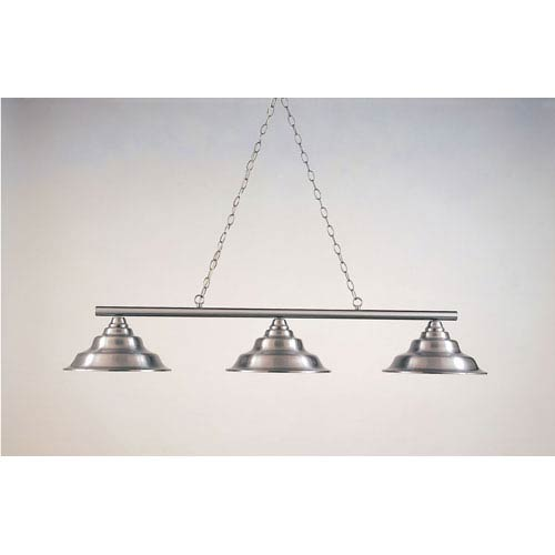 Satin Steel 12-Inch Three-Light Billiard Light