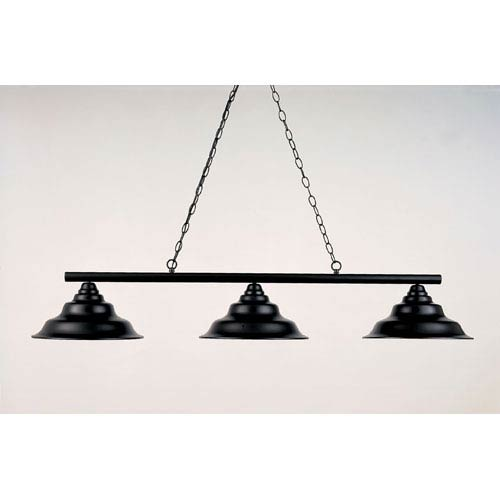 Black Leather 12-Inch Three-Light Billiard Light