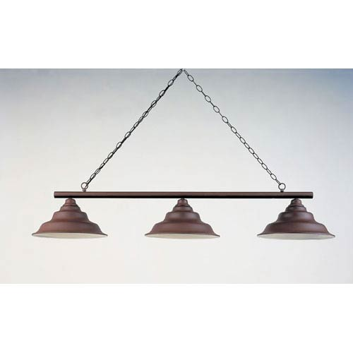 Rust 12-Inch Three-Light Billiard Light