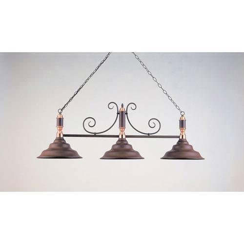 Hi-Lite Rust and Polished Copper 18-Inch Three-Light Billiard Light