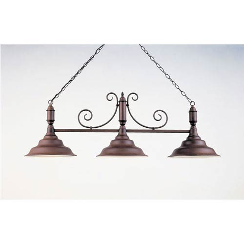 Black Leather and Satin Copper 18-Inch Three-Light Billiard Light