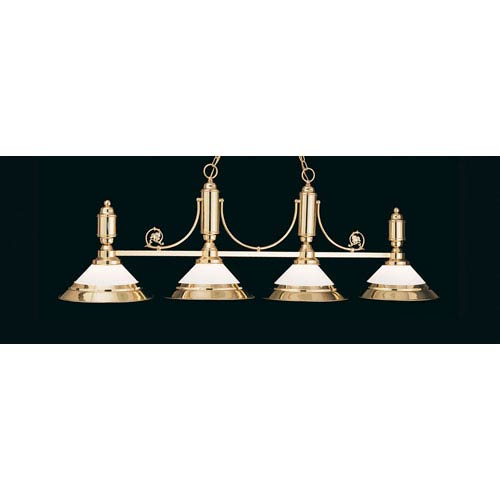 Polished Brass 20-Inch Four-Light Billiard Light