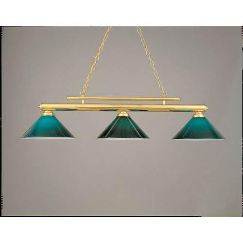 Hi-Lite Polished Brass and Green 15-Inch Three-Light Billiard Light