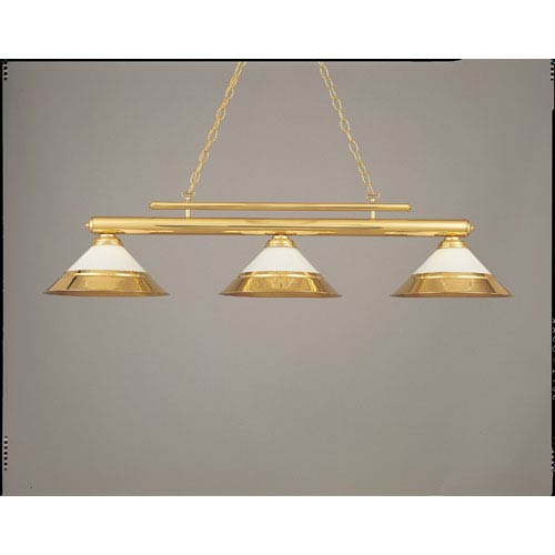 Polished Brass and White 15-Inch Three-Light Billiard Light