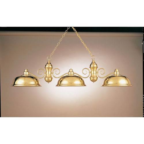 Polished Brass 15-Inch Three-Light Billiard Light