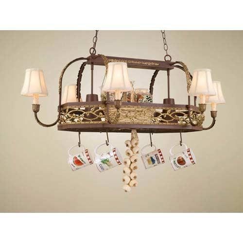 Napa Powder Coat Rust Lighted Pot Rack with Fabric Shades