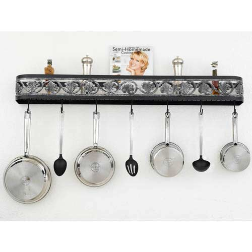 Hi Lite Leaf Black Leather Wall Mounted Pot Rack