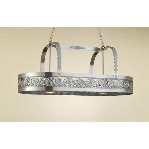 Leaf Satin Steel Lighted Pot Rack