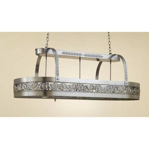 Leaf Satin Steel Lighted Pot Rack