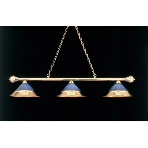 Polished Brass and Blue 11-Inch Three-Light Billiard Light