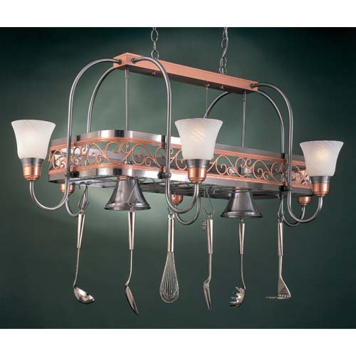 Hi Lite Odyssey Marble Eight Light Pot Rack